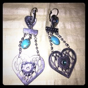 Heart dangle blue stone earrings